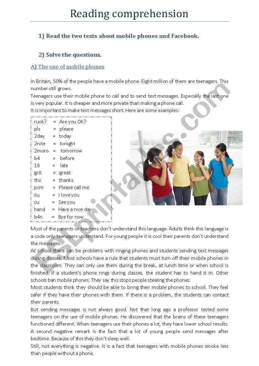 Reading comprehension: mobile phones + Facebook