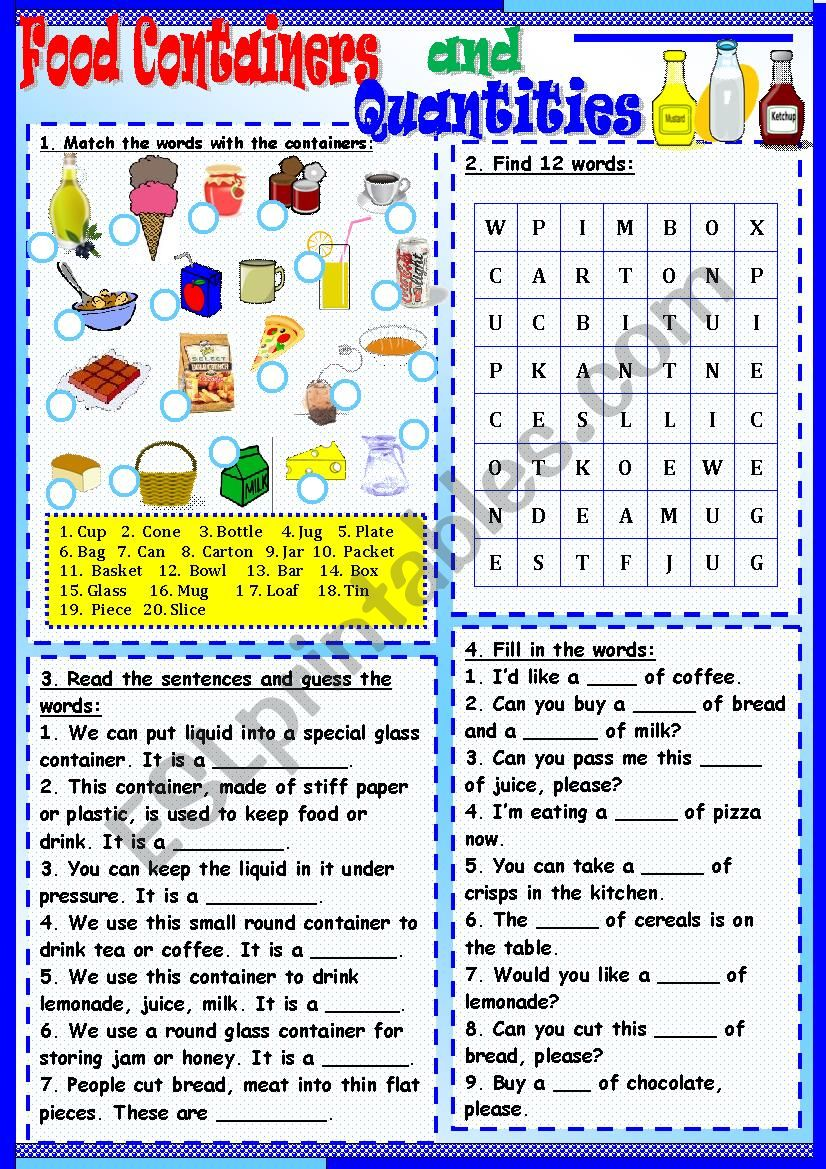 Food Containers worksheet