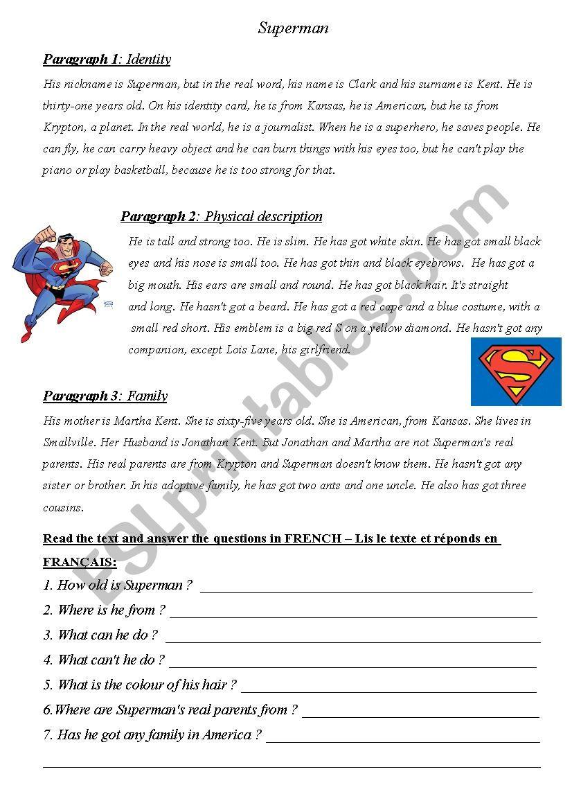 Superhero project work worksheet