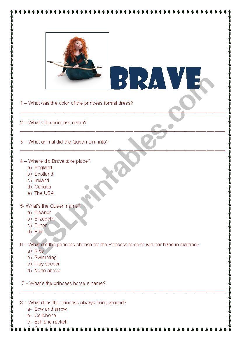 BRAVE - THE MOVIE worksheet