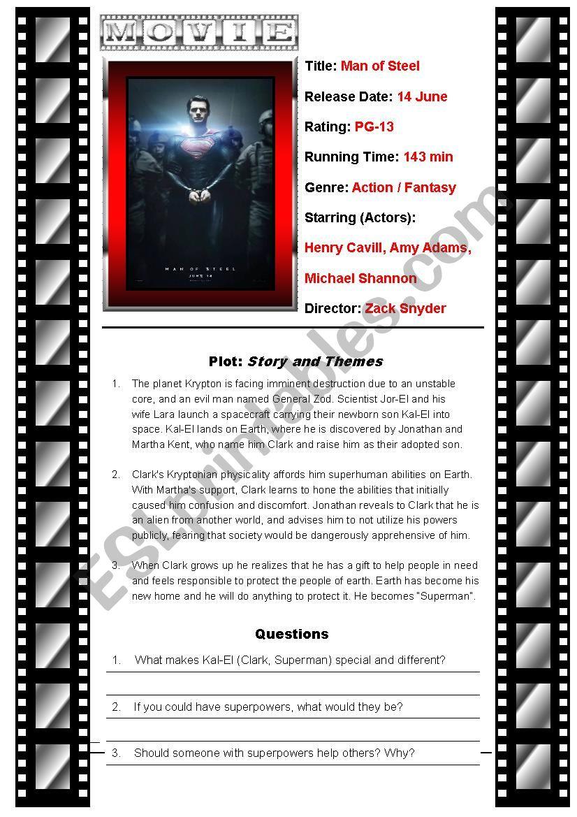 Movie Man of Steel  worksheet