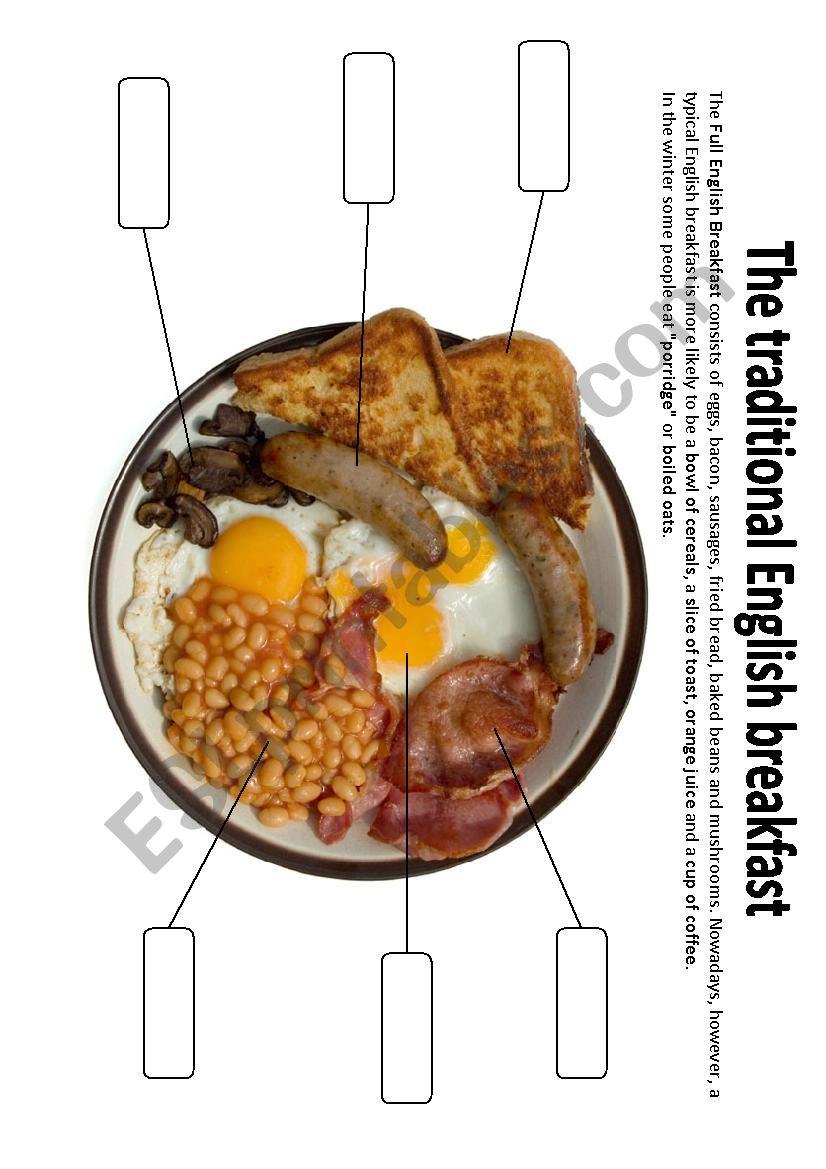 Traditional English Breakfast worksheet