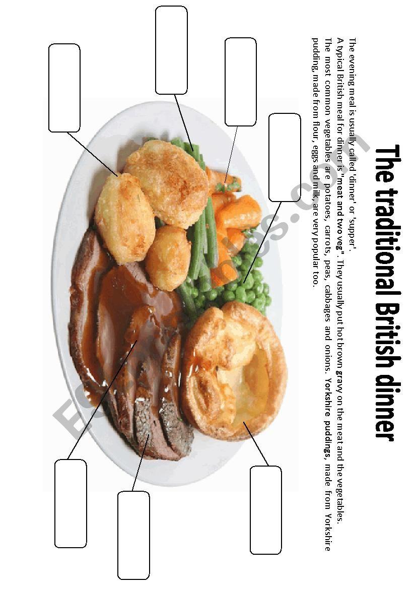Traditional British dinner worksheet