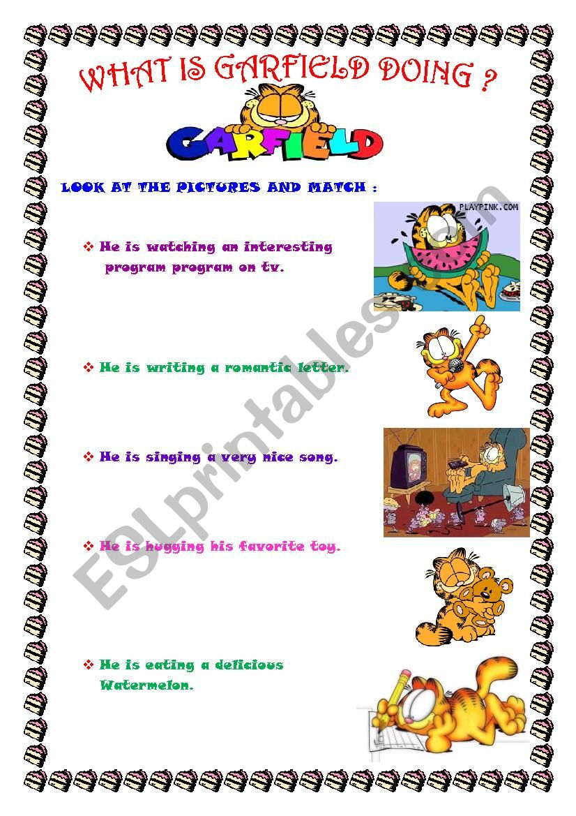 What Is Garfield Doing 3 Pages Esl Worksheet By Alemi