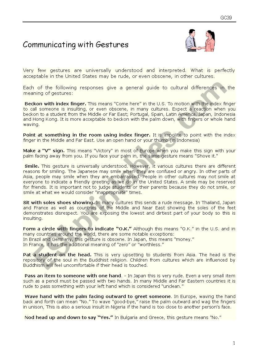 Communicating with gestures worksheet