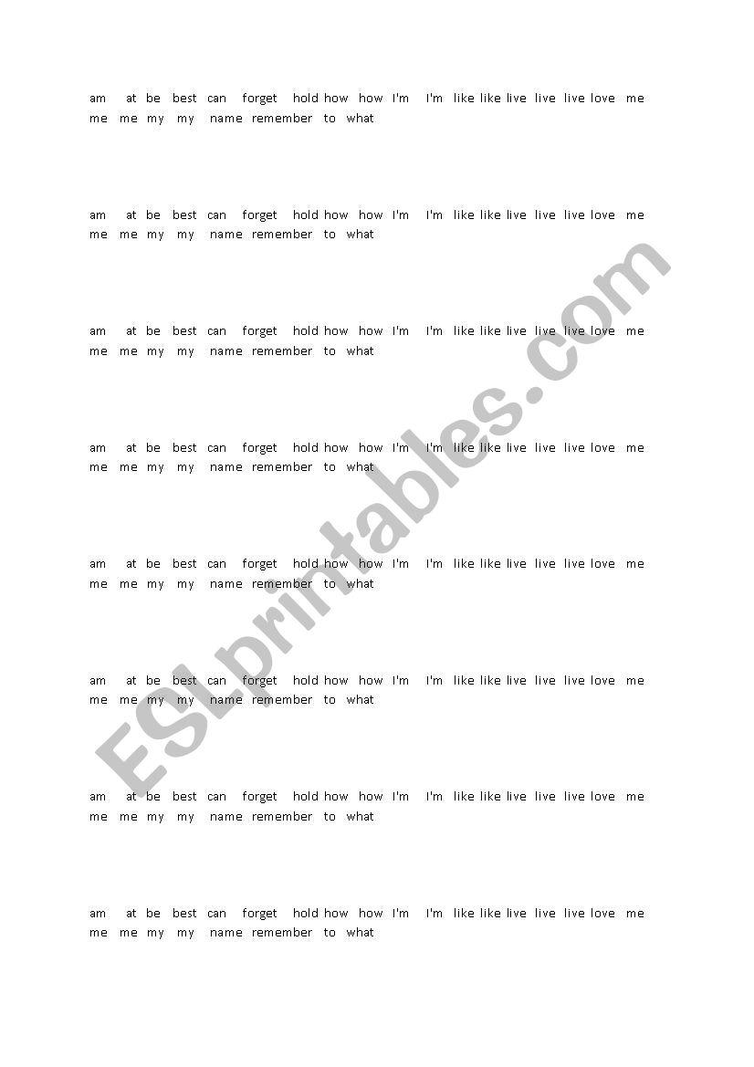 Worksheet Gonna Lenkaw Live Fame Esl By Forever Song I´m FTJcK1l