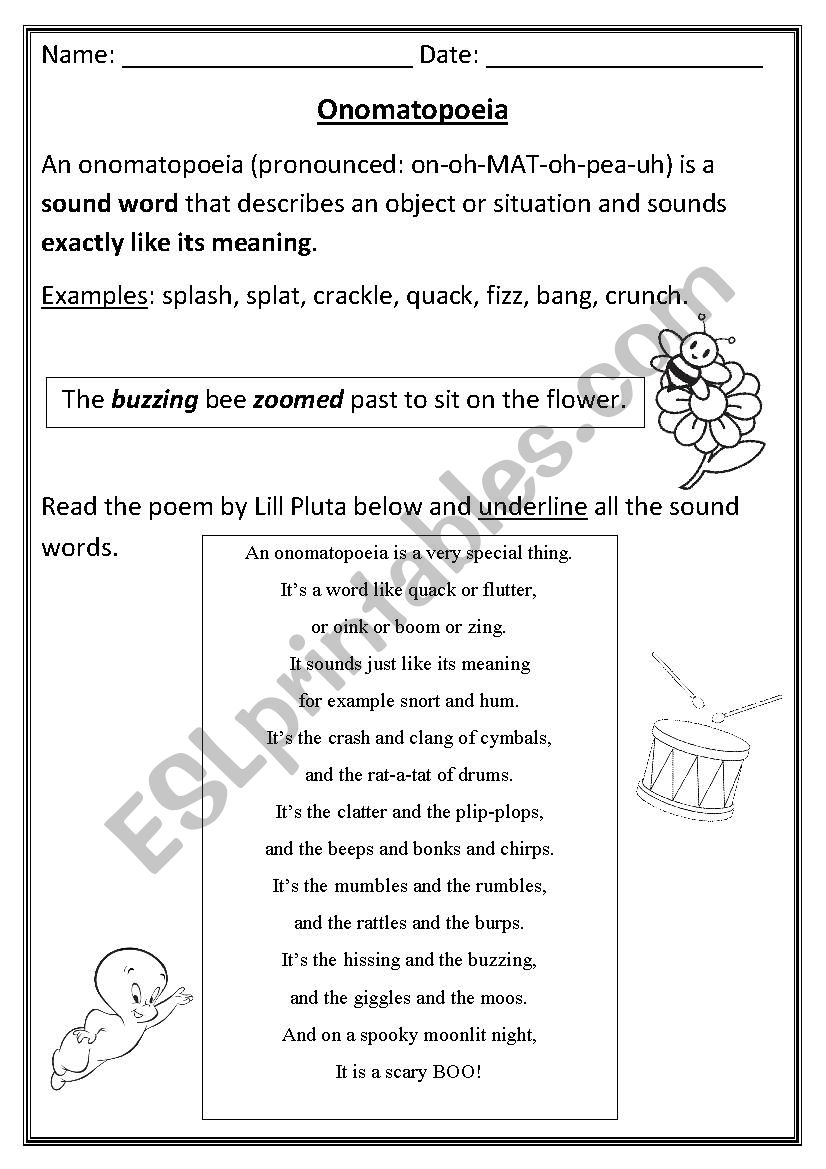 Onomatopoeia - ESL worksheet by arandolph With Regard To Sound Devices In Poetry Worksheet