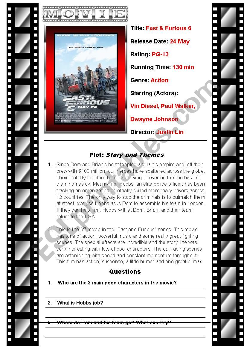 Movie Fast and Furious 6 worksheet