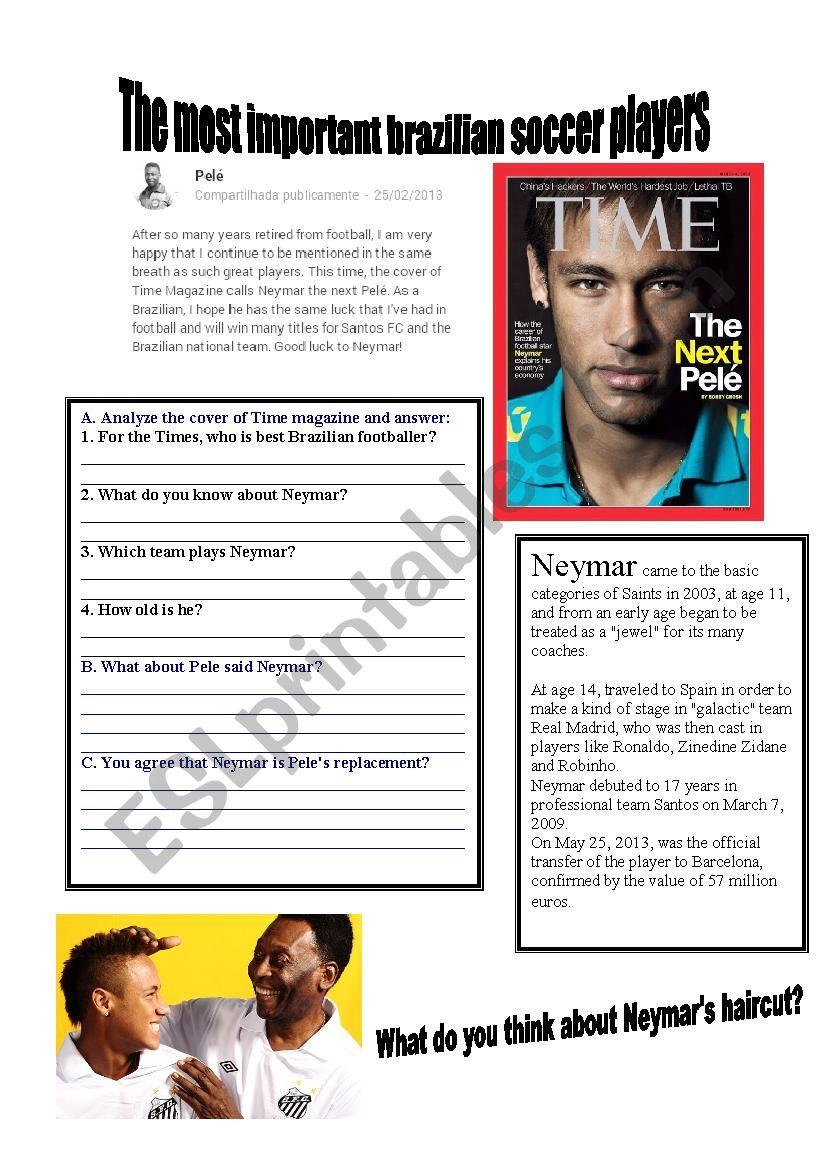 Brazilian Soccer players Neymar and Pele - ESL worksheet by jucassol