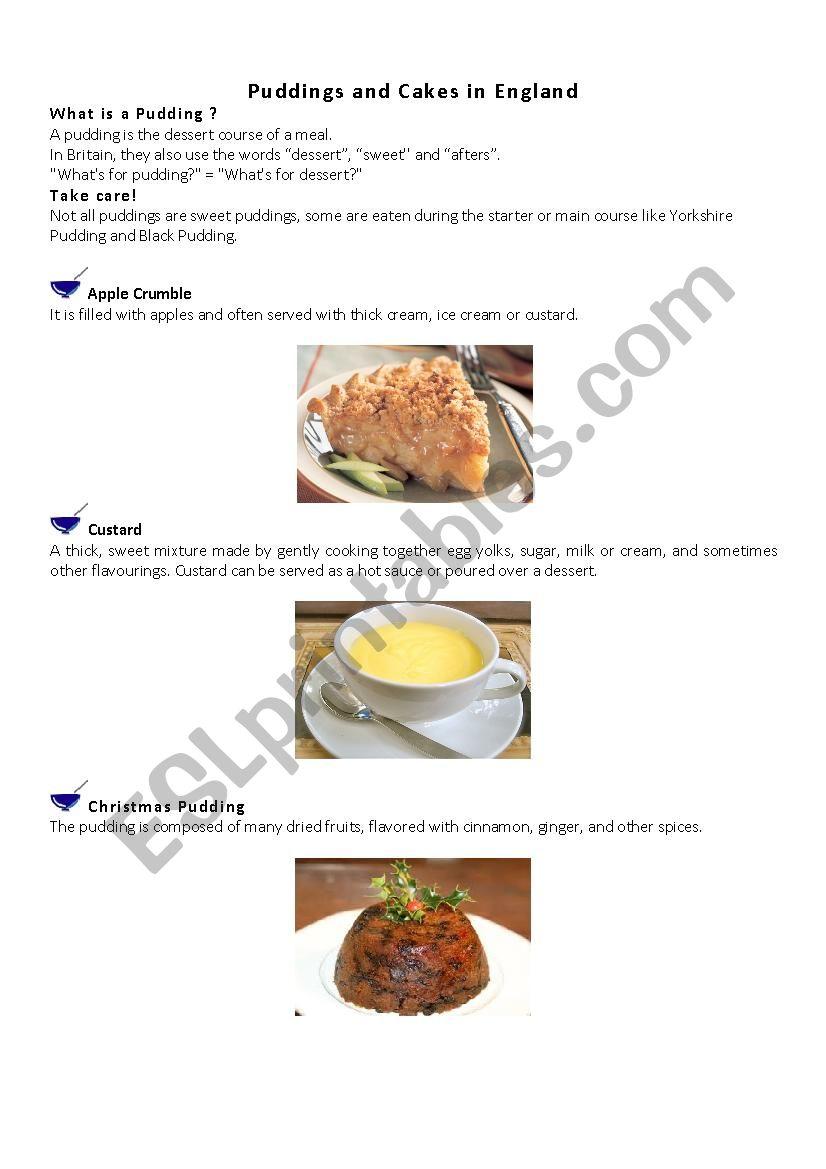 Desserts in Britain 1 worksheet