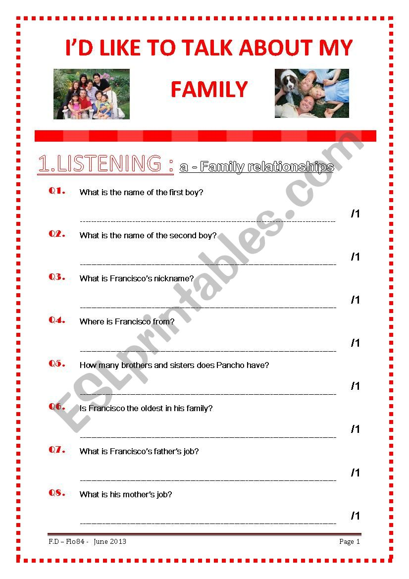 I´D LIKE TO TALK ABOUT MY FAMILY - 4 SKILLS - CEFR SELF- ASSESSMENT GRID PROVIDED -KEY INCLUDED