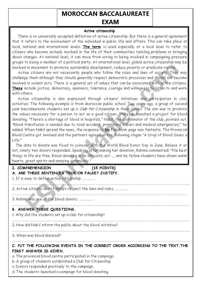 active citizenship worksheet
