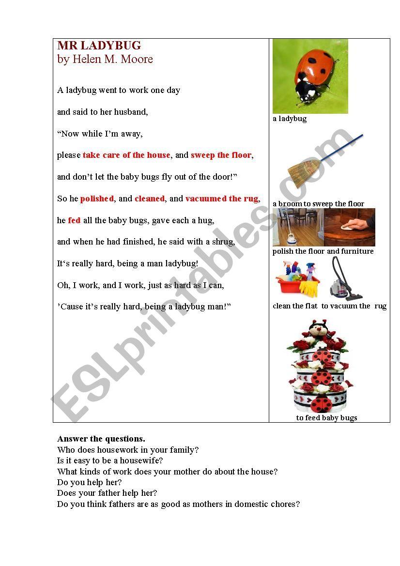 Mr Ladybug (a funny poem about housework)