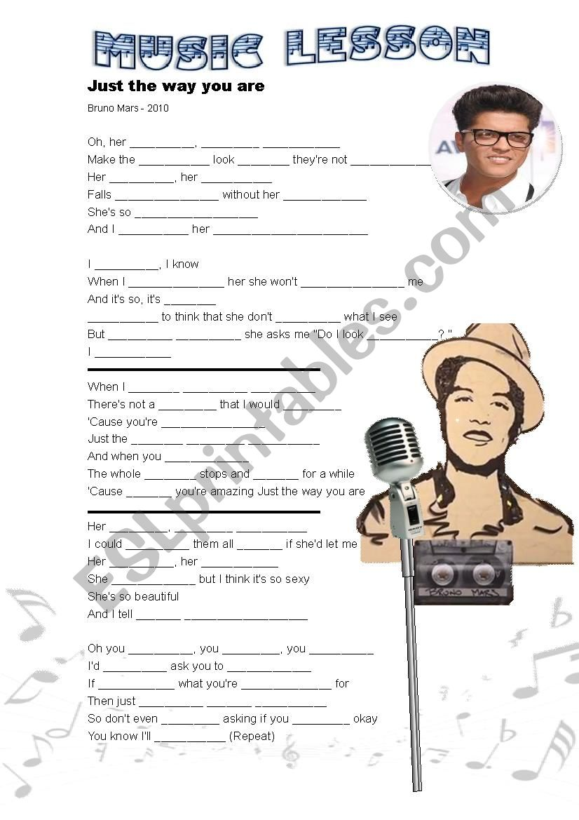 Music - Just the Way You Are worksheet