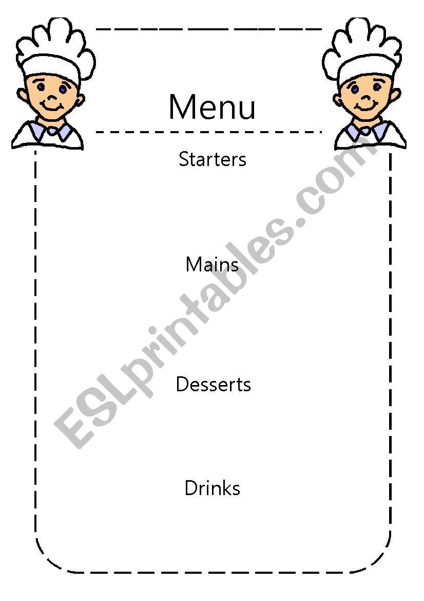 english worksheets design your own menu