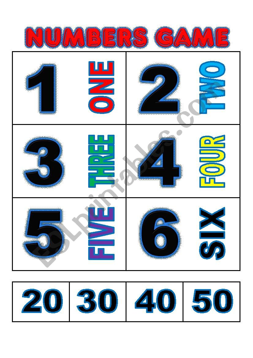 Numbers game flashcards worksheet