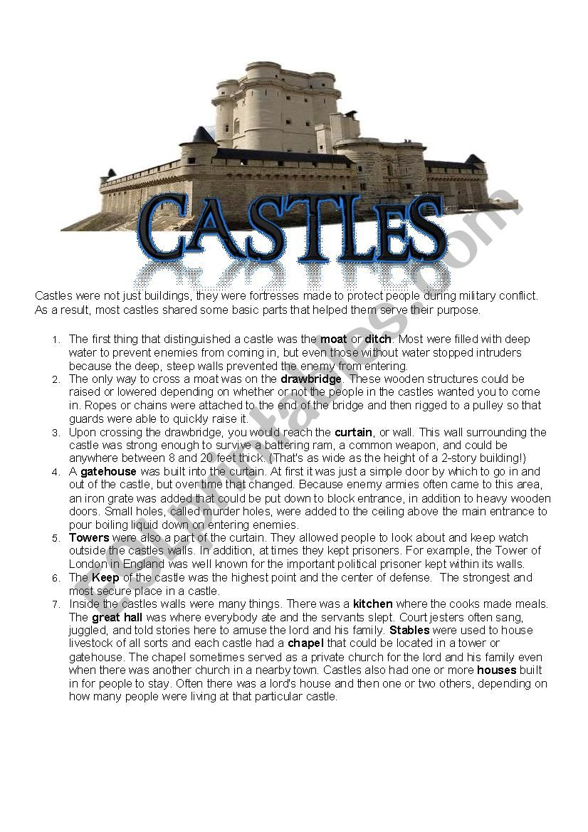Castle Worksheet worksheet