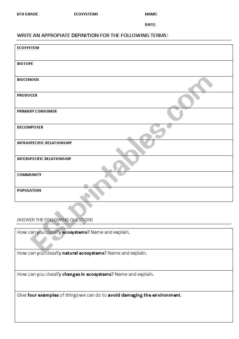 Worksheets Ecosystems Worksheets ecosystems esl worksheet by hook worksheet