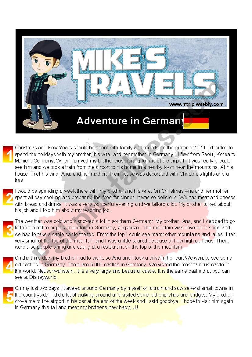 Tavel Story - Germany worksheet