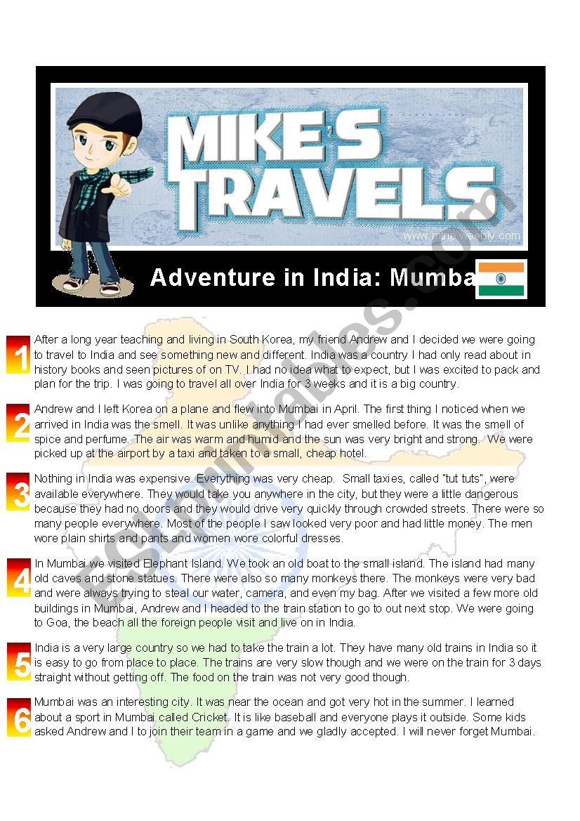Travel Story - India worksheet