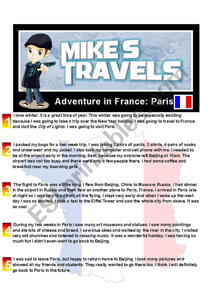 Travel Story - France worksheet