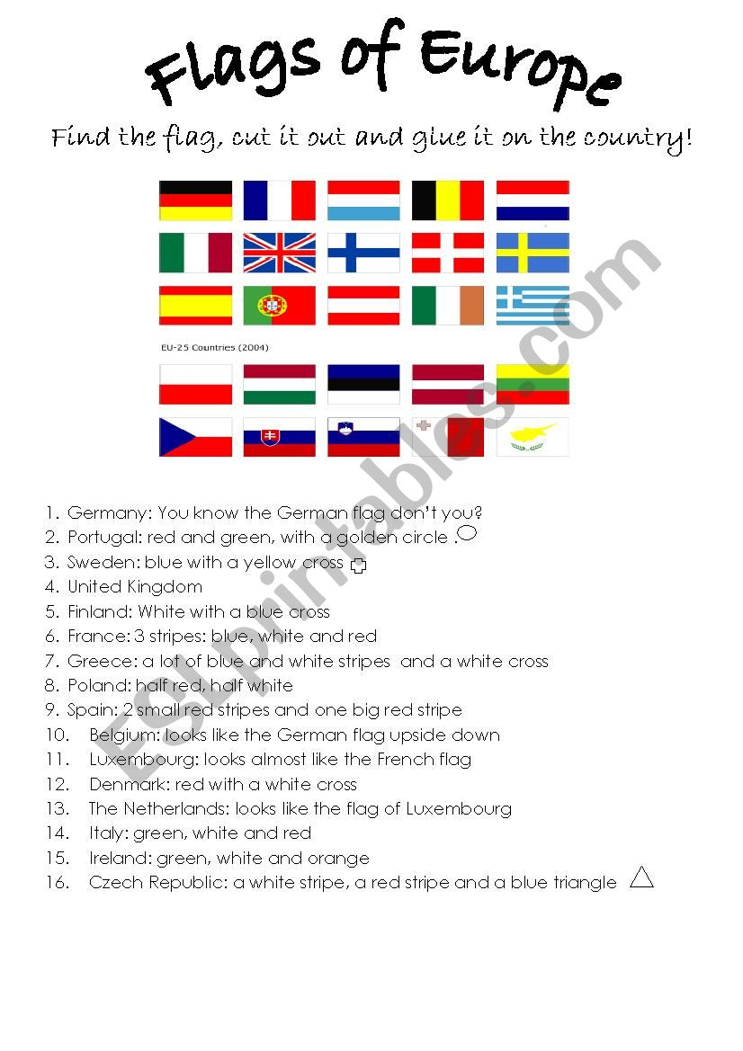 The flags of Europe worksheet