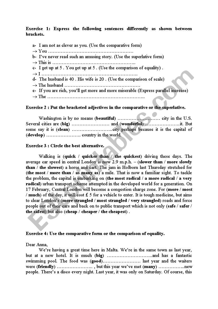 Comparison Practice worksheet
