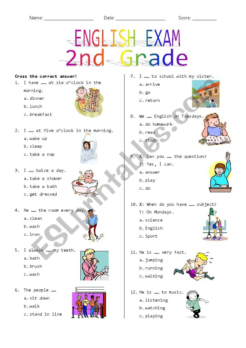 2nd Grade Final Exam #1 worksheet