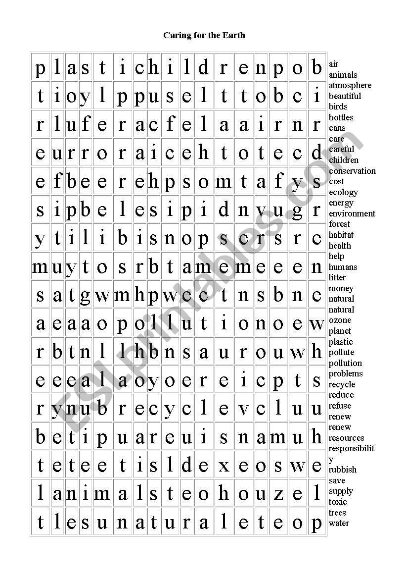 Caring for the Earth - Word Search