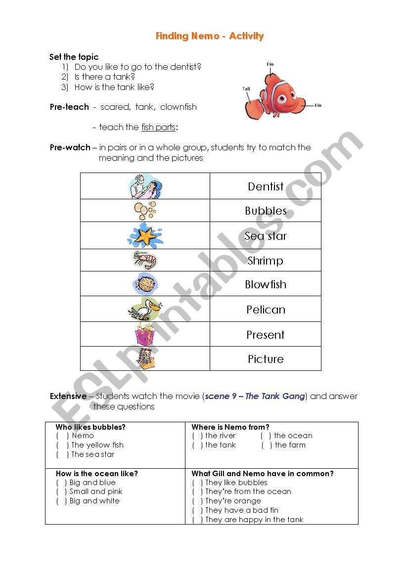 Finding Nemo Video Activity Esl Worksheet By Jcarles