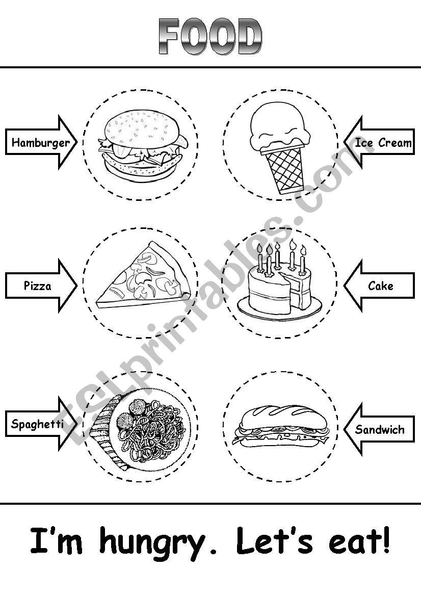 Food Activity - Read, Cut, Color, Paste