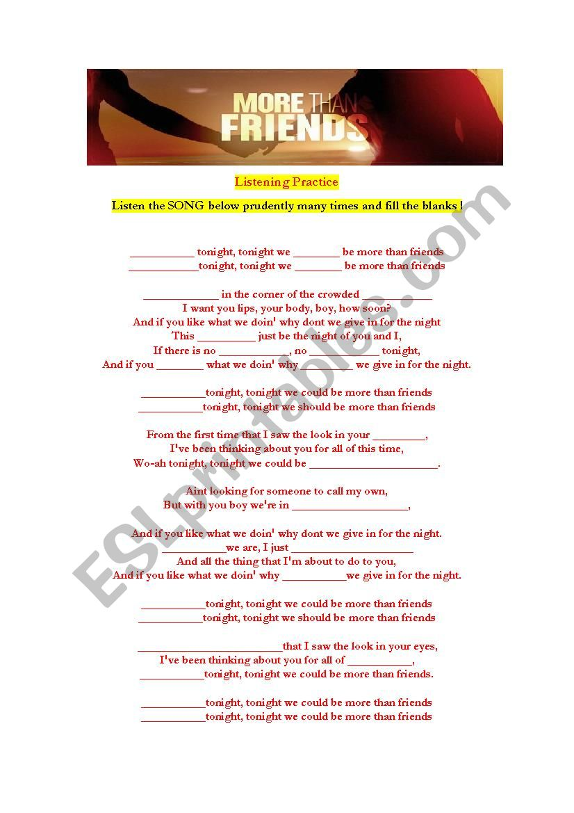 More Than Friends ; SONG worksheet