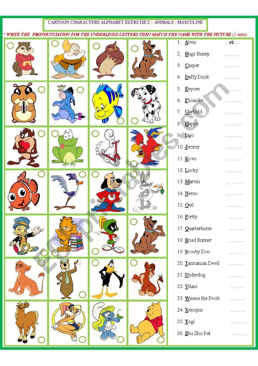 Cartoon Characters Matching Exercise -male 3 - ESL worksheet