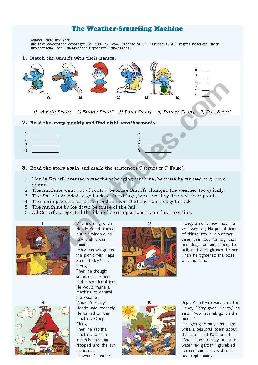The Weather-Smurfing Machine worksheet