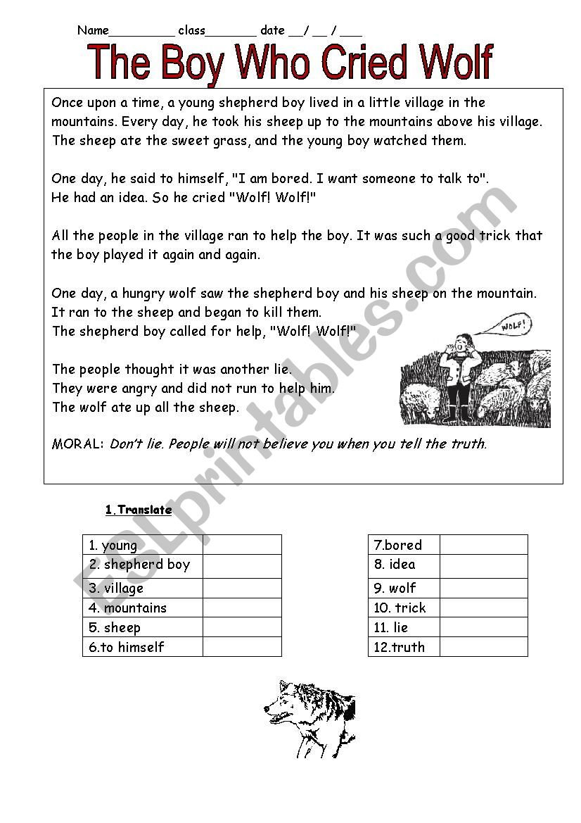 The boy who cried wolf - ESL worksheet by schulzi