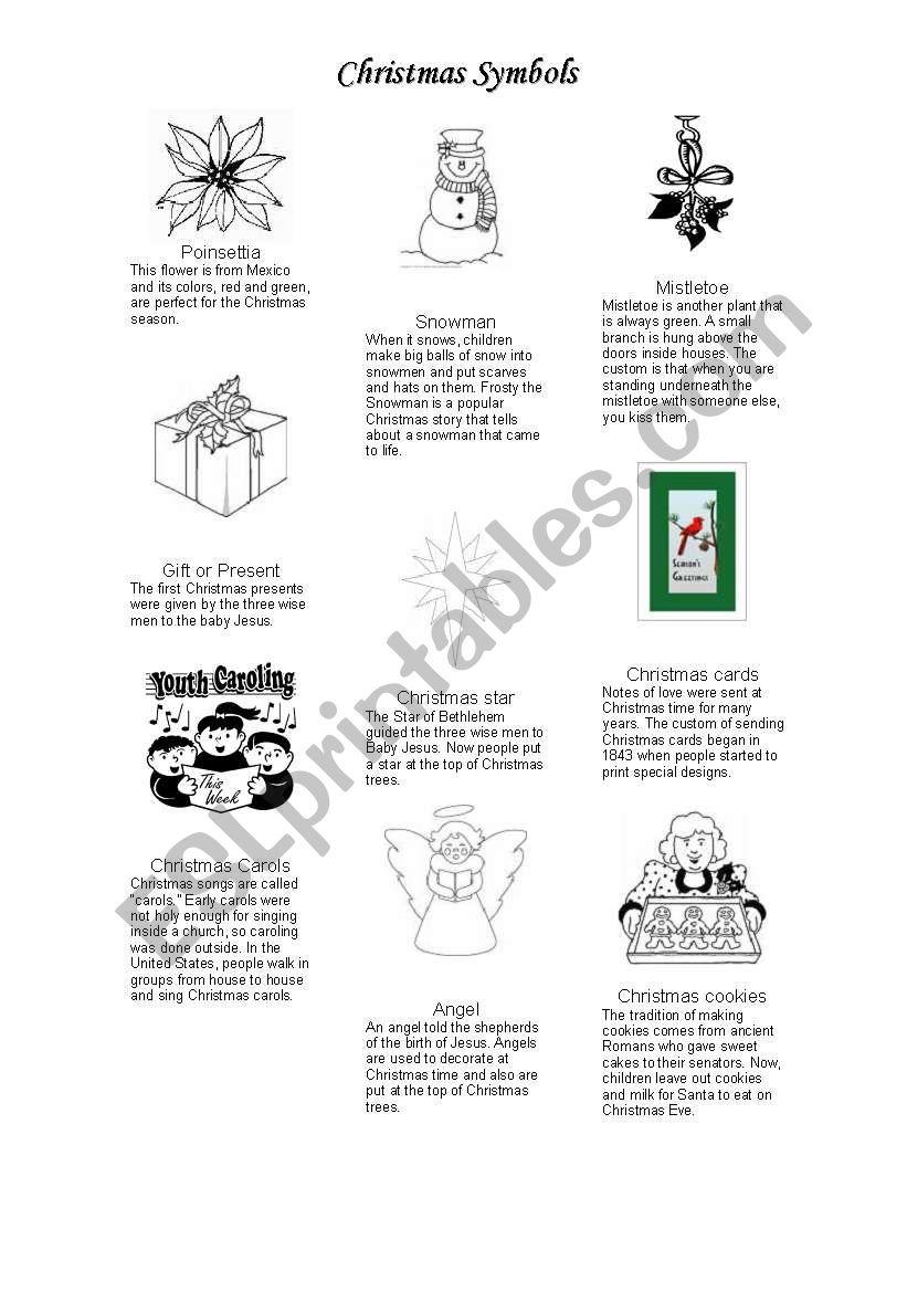 Christmas Symbols Coloring Page - ESL worksheet by gandhi.nina | 1169x821