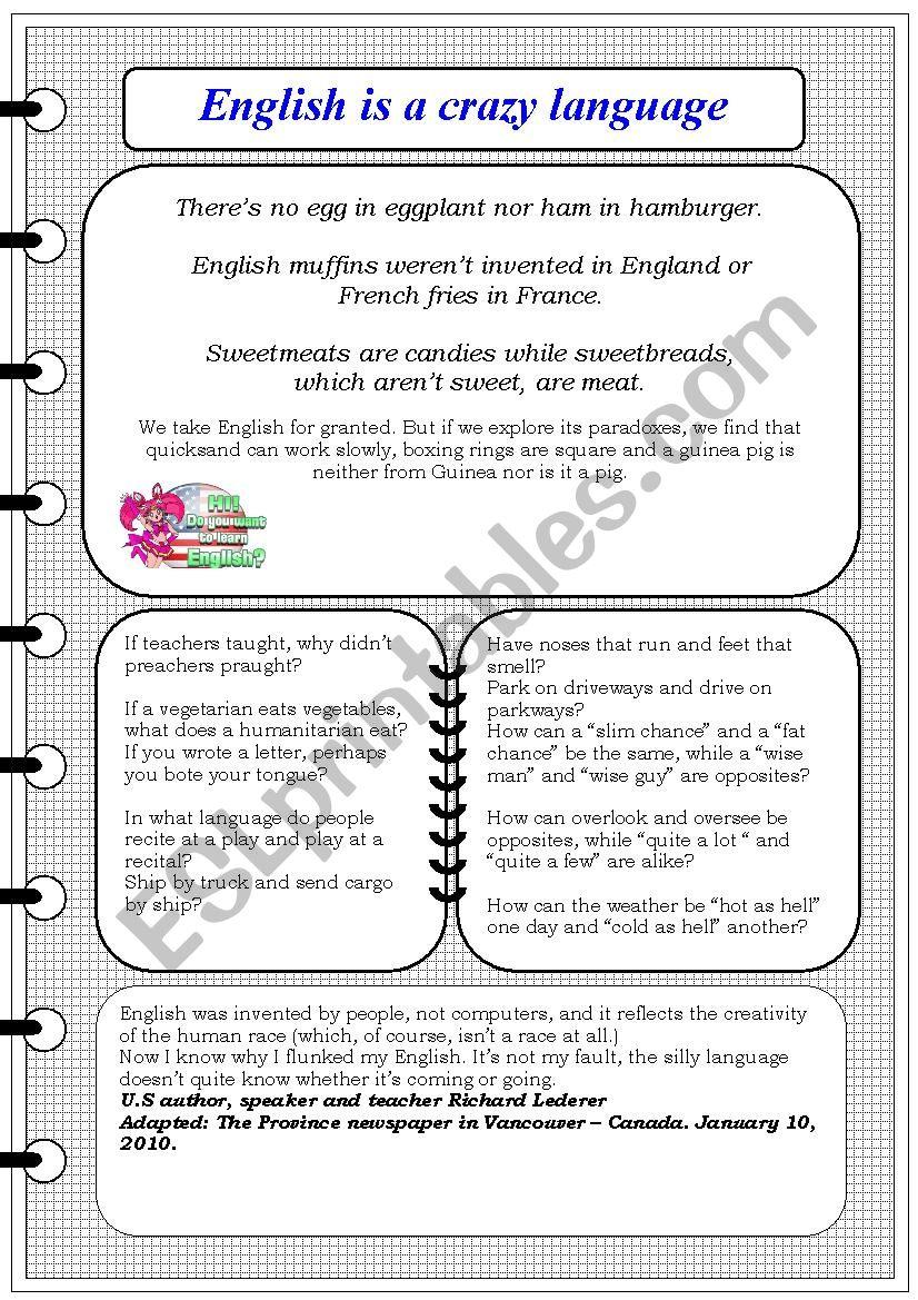 English is a crazy language worksheet