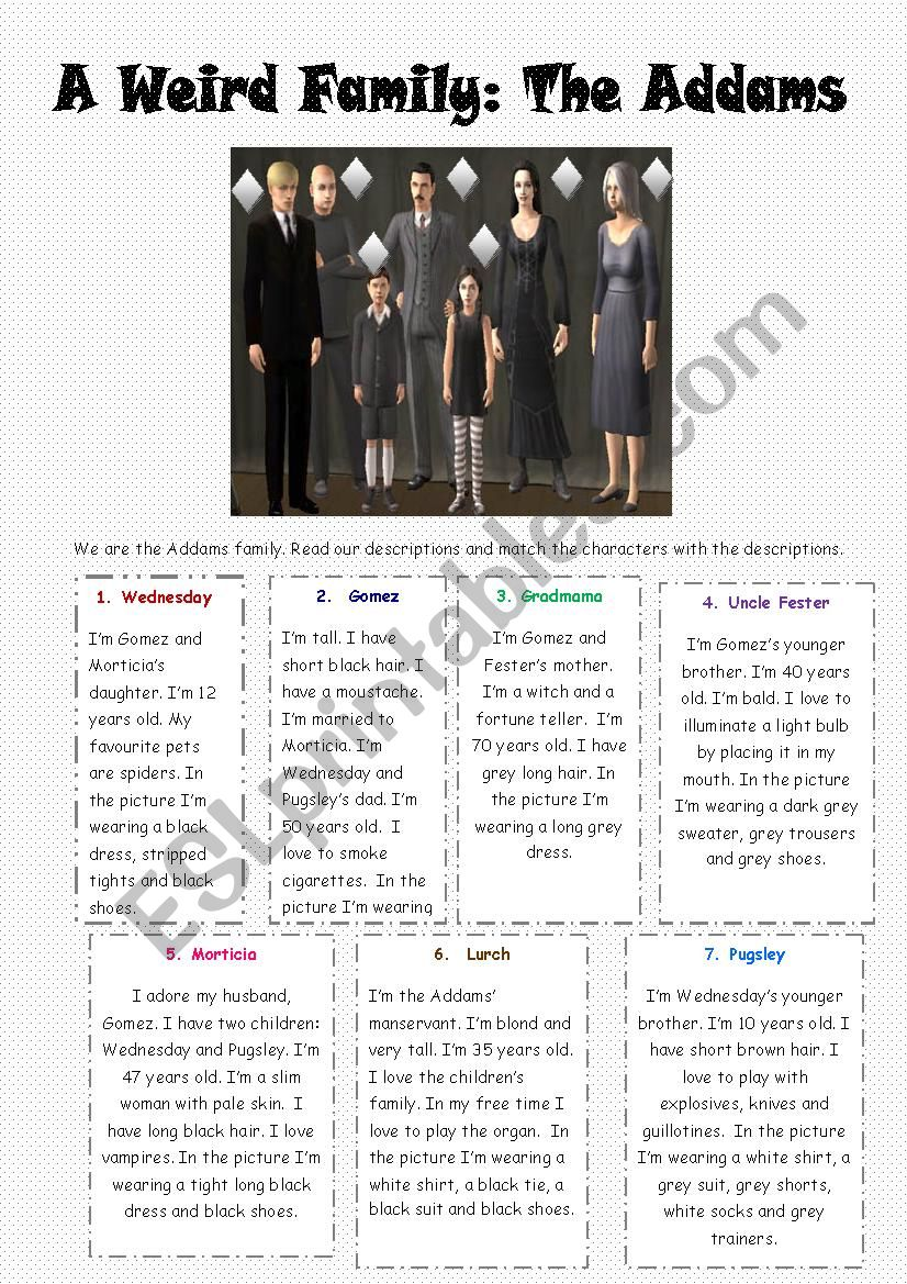 A weird Family: The Addams - ESL worksheet by Jessisun