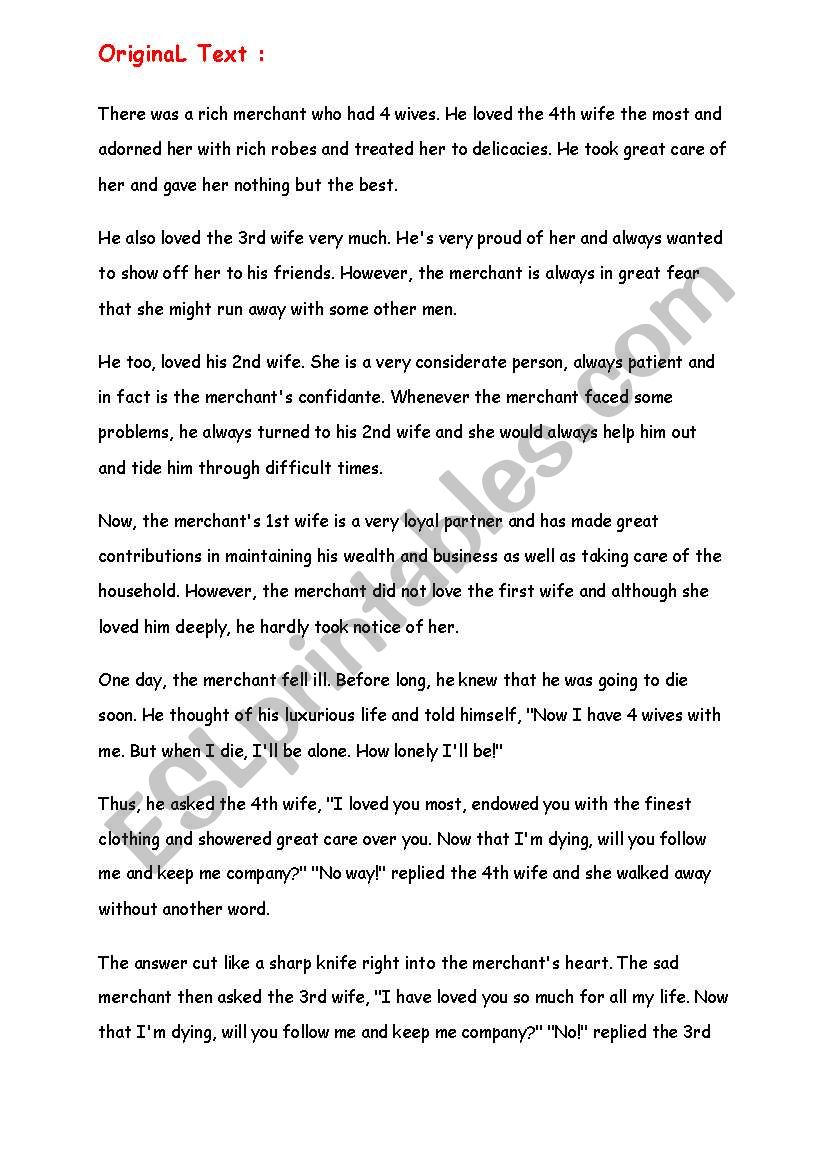 English worksheets: 4 wives_Inspirational Story with Analysis
