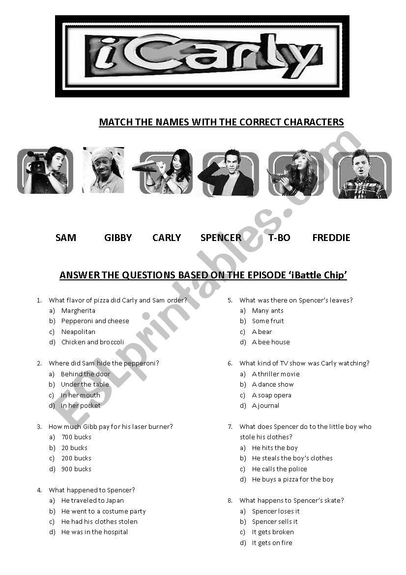 iCarly - iBattle Chip - ESL worksheet by Analisig