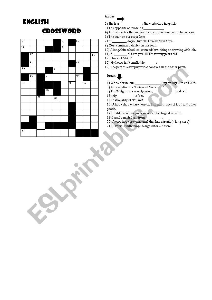 English crossword worksheet