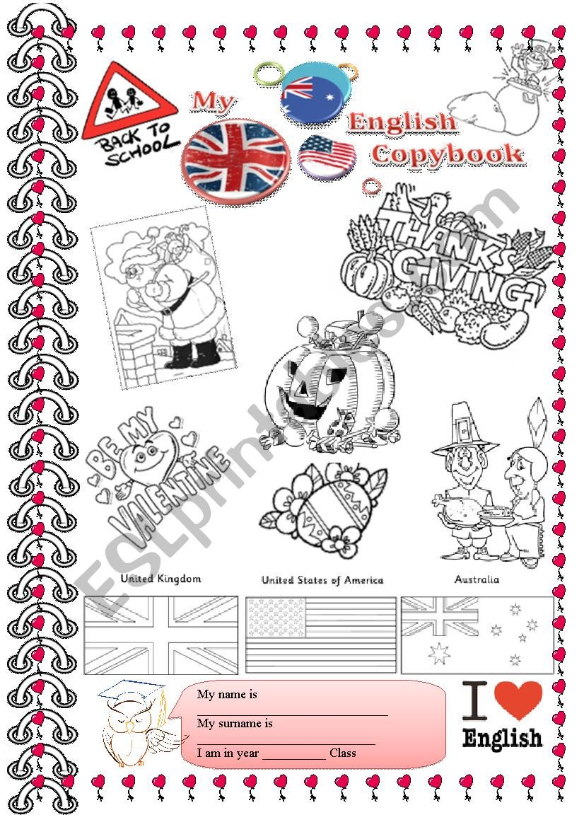 My English Notebook (Cover) worksheet