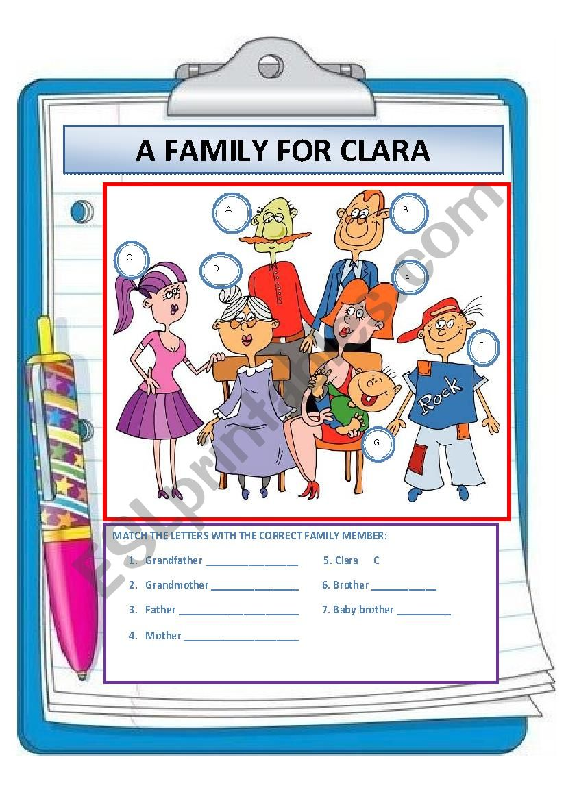 A FAMILY FOR CLARA worksheet