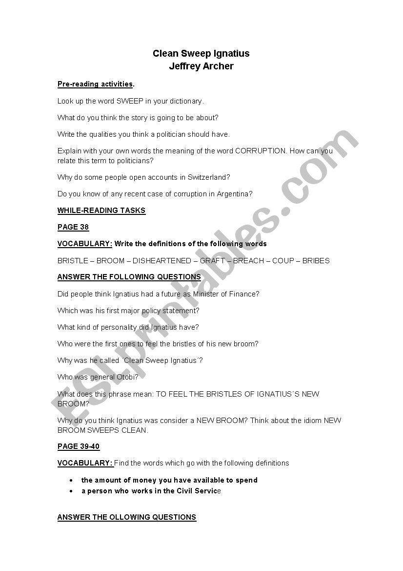 Clean Sweep Ignatius - ESL worksheet by julyeta