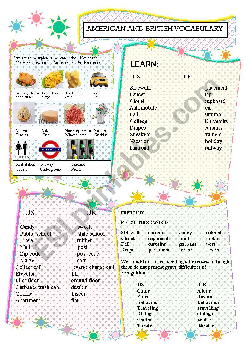 AMERICAN  AND BRITISH ENGLISH worksheet