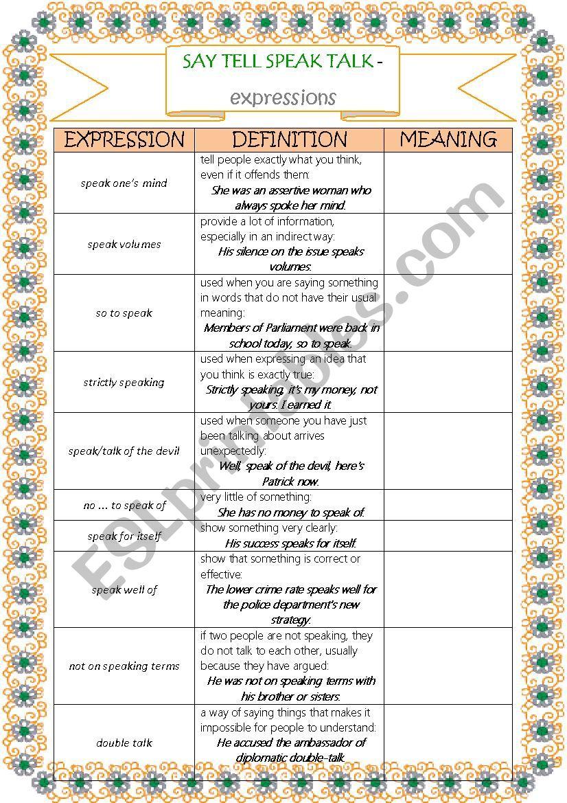 TALK SAY SPEAK TELL - expressions - part 1