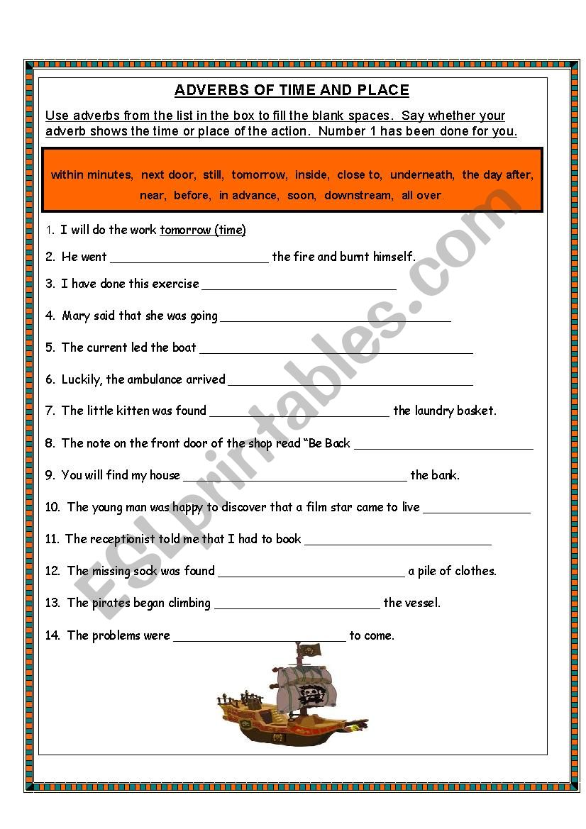 adverbs of time and place esl worksheet by. Black Bedroom Furniture Sets. Home Design Ideas