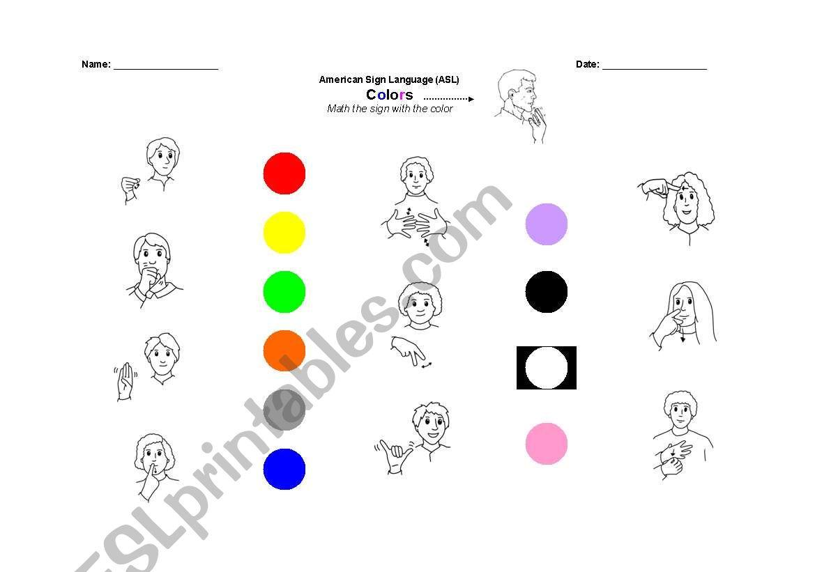 english worksheets colors in asl. Black Bedroom Furniture Sets. Home Design Ideas