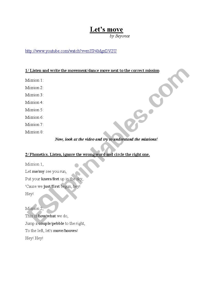 Let´s Move ! By Beyonce.  worksheet
