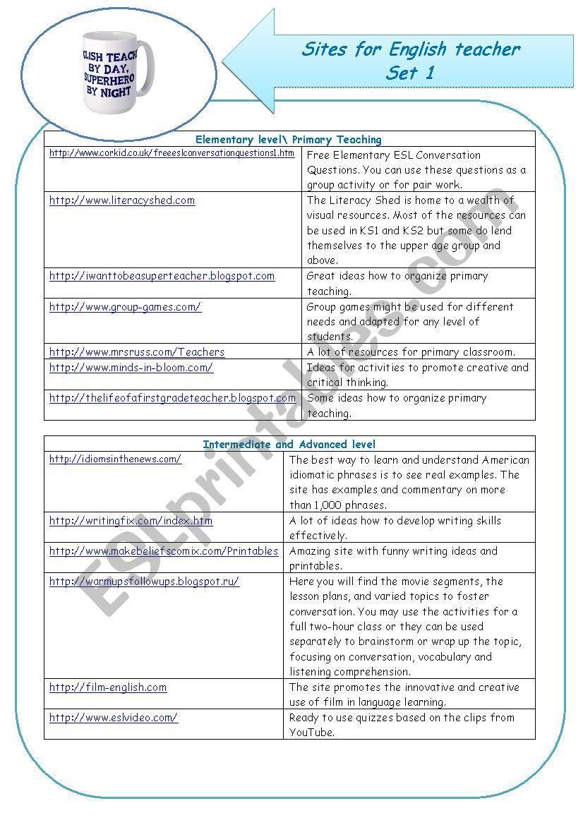sites for English teacher worksheet